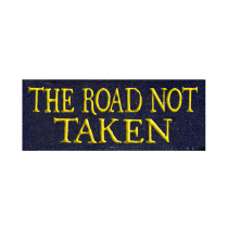 "Embroider ""The Road Not Taken"" on to existing jacket sleeve"